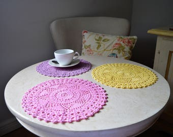 Elegant Hand-Crocheted Mat/Doily - sold individually or as a set of 4
