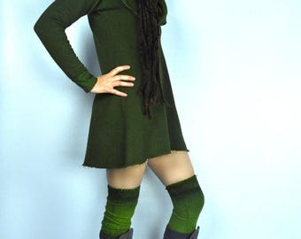 Hemp Dress,Cowl,Hood,Tunic,Mini,Fleece,Hemp Fleece,Woman,Hand dyed,Benu Apparel,