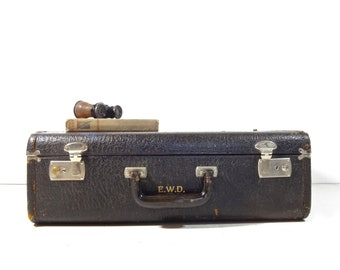 Vintage Black Leather Suitcase / Vintage Luggage