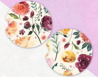 Car Coaster   Rose Car Coasters, Sandstone Car Coaster, Floral Car Coaster, Gifts for Her, Beverage Coaster, Aesthetic, Flower Car Coaster