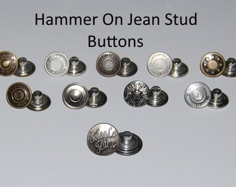 Hammer on Metal Jeans Buttons Studs & Backs - Choice of Style and Quantity
