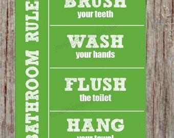 Bathroom Rules BATHROOM WALL ART Wash your hands Brush your teeth Hang your towel Flush the toilet Green Instant Download Kids Bathroom 006