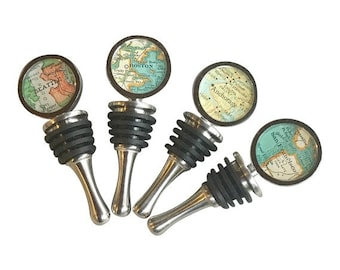 Map Bottle Stopper for Olive Oil or Vinegar Chef or Gift for the Cook Vintage Atlas You Choose The  City Housewarming or Hostess Favor Wine