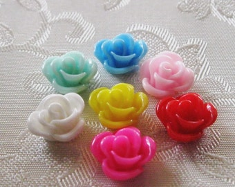 Resin Rose Flower Cabochon No Hole You Choose Your Colors 11mm 929