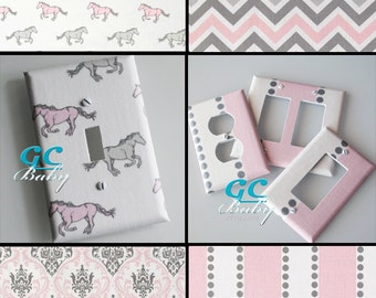 Pink & White Premier Light Switch and Outlet Covers - 8 Different Patterns - Rocker, Decorator, Toggle, Pole, Duplex, Plug