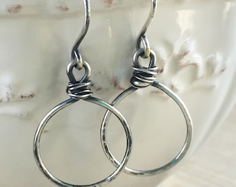 Silver Wrap Hoops - Hammered and Oxidized