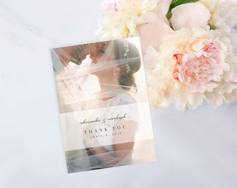 Personalized Photo Wedding Thank You Card, Printable Digital Card, Print at Home