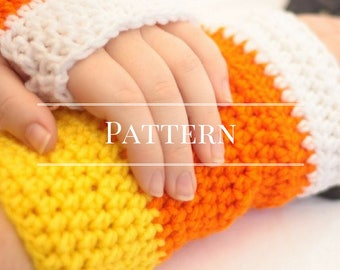 Fingerless gloves, Crochet Candy Corn Fingerless gloves pattern, Halloween
