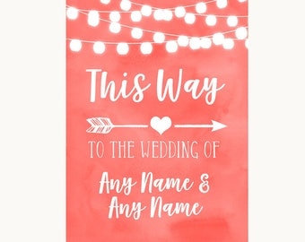 Coral Watercolour Lights This Way Arrow Right Personalised Wedding Sign