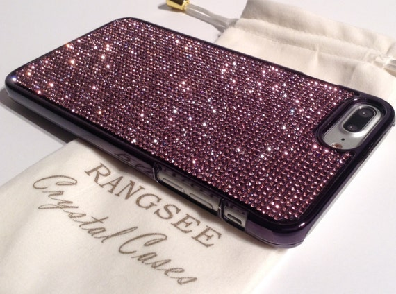 iPhone 8 Plus Case / iPhone 7 Plus Case Purple Amethyst Diamond Rhinestone Crystals on Black Chrome Case. Velvet Pouch Included,