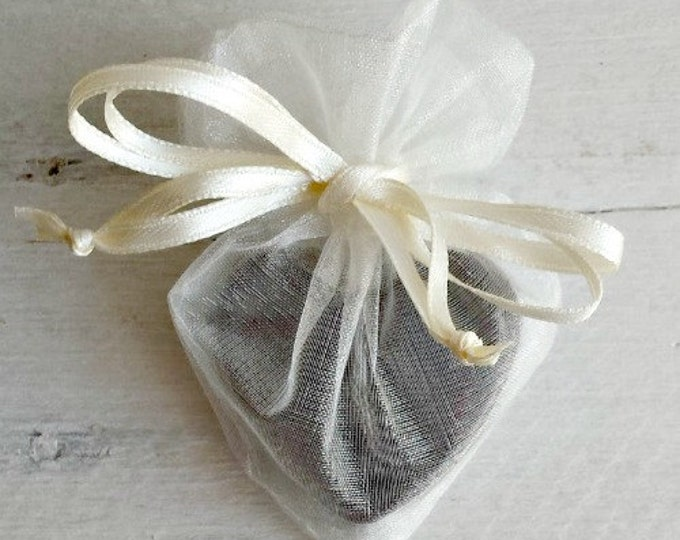 Featured listing image: Heart Shaped Organza Favor Bag, Soap Favor Bag, Organza Favor Bag, Drawstring Bag, Organza Bag, 4x3 Heart Organza Bag, Wedding Favor Bag