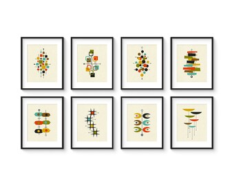Mid Century Print Set, Giclée Prints, Abstract Modern Art, Midcentury