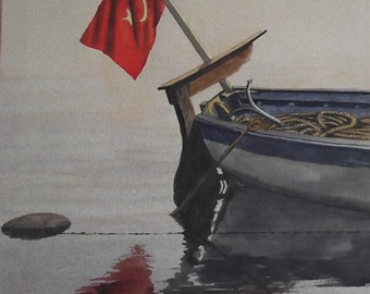 Original Watercolour Painting of Turkish Flag with reflections on back of Fishing Boat