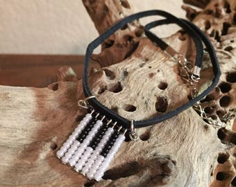 Handmade Beaded Piano Fringe Choker, Seed Beaded Necklace ,Black and White Necklace  Piano Jewelry, Piano Choker,Glass Beads Necklace