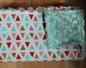 Baby Girl Blanket-Infant Blanket-Triangle Blanket-Cute Baby Girl Blanket-Baby Shower Gift-Baby Girl Gift-Nursery Blanket-Faux Fur Blanket