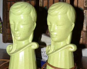 Vintage Pair of Green, Women-Faced Lamps