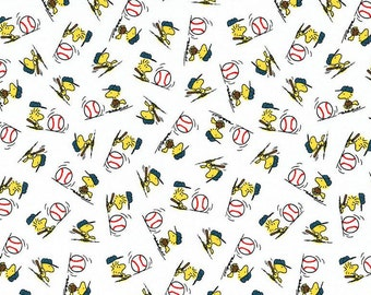 Snoopy Fabric, Baseball Fabric: Snoopy Peanuts- All Star Baseball Tossed Woodstock Fabric White 100% cotton fabric  (QT368)