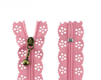 1 zipper with flowers 25 cm old Rose