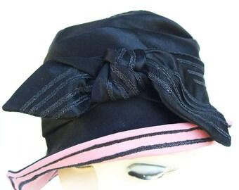 """22"""" - Vintage Black Silk Satin Womens Cloche Hat"""