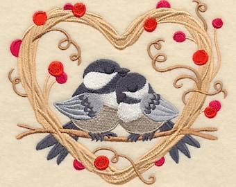 Chickadee Love Nest, embroidered towel, tea towel, dish towel, hand towel, flour sack towel