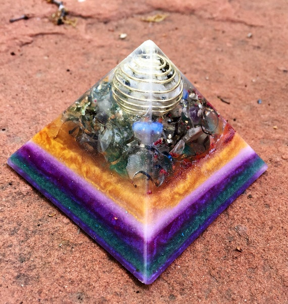 Protection Orgone Pyramid- Earth Energy Grounding Oronge Pyramid- Moonstone & Titanium Shavings for Spiritual Protection and Understanding