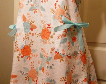 Full Apron - Coral/Turquoise Floral Print / Mother's Day gift