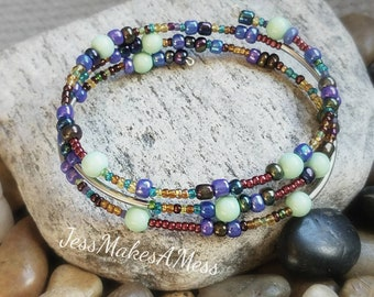 Boho bohemian style memory wire beaded bangle bracelet easy to put on purple teal brown mother's day