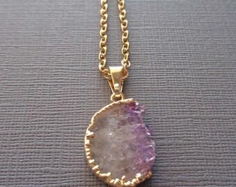 Half Moon Amethyst Slice Necklace / Electroplated Amethyst Slice / February Birthstone / Amethyst and Gold Necklace / Moon Necklace//GR2