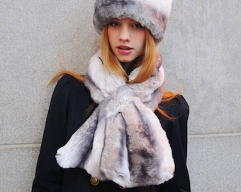 Tissavel Faux Fur Scarf in Light Chinchilla