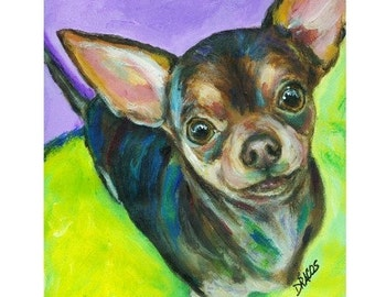 Chihuahua Dog Art Print, Chichi Painting, Chihuahua Looking Up, black-and-tan chihuahua, Dogs, Print, by Dottie Dracos