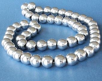 1 Strand Hematite Silver Gemstone Beads 8mm - BD235