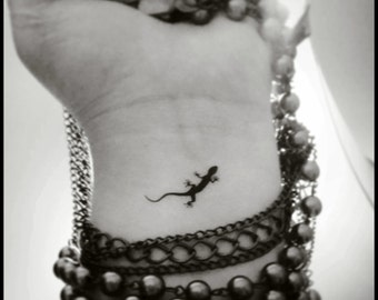Gecko temporary tattoos set of 4 small tattoos fake tattoos tiny tattoos