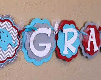 Elephant Chevron Stripe and Polka Dot Its a Boy or Name Banner Sky Light Blue, Red, and Gray Baby Shower Birthday Party Decorations Banner