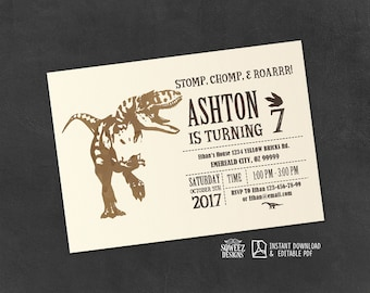 Dinosaur Invitation, Dinosaur Birthday Party, Dinosaur Birthday, Boy Birthday Invitation, Dinosaur Invite - Instant Download Editable PDF