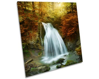 Autumn Forest Waterfall Landscape CANVAS WALL ART Square Print