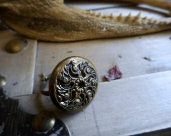Paisley Moon Romantic Victorian Brass Button Ring.