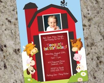Farm Animal Invitation - Printable Design - Barnyard Birthday - KID17