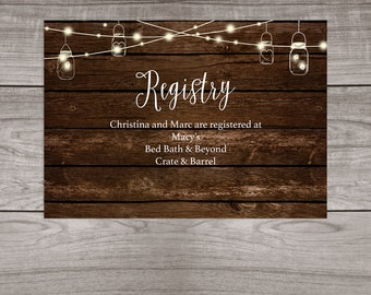 Rustic Wedding Registry Insert Cards Printed and Shipped to You - Country Rustic Wedding - Affordable Wedding Inserts - Wedding-103
