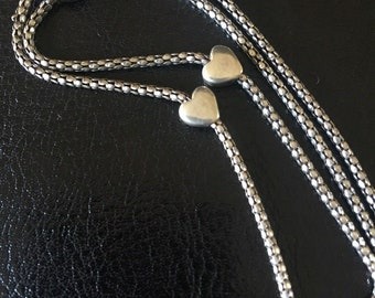 Vintage Sterling Silver tiny hearts Charm Chain Necklace
