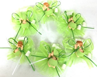 12 Apple Green or Fuchsia Baby Shower Capia Favor Corsage Chest Favors