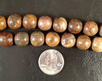 12 Brown Jasper Beads, Jewelry supplies, Bead supplies, Stone Beads, Gemstone Beads, Loose Beads, Semiprecious Beads, Focal Beads, Beads