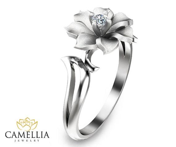 Flower Gold Diamond Wedding Ring Leaf and Flower Diamond Ring
