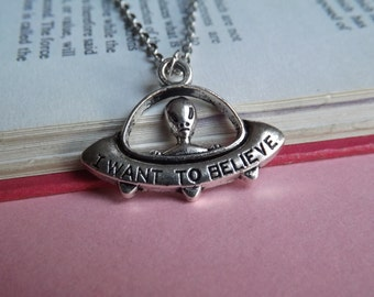 Silver alien space ship charm necklace (choose your chain length) (UFO, believe, aliens, i want to believe, the truth is out there)