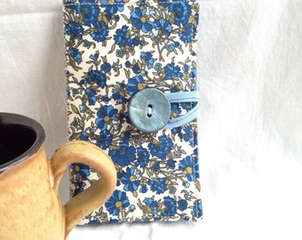 Blue flowers liberty style cotton lawn tea bag wallet / fabric wallet / business card wallet / gift for tea drinker / Ready to ship