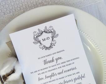 Wedding Reception Thank You Card   Wedding Thank You Card   Thank You Card   Thank You - Style 13 - BOTANICAL Crest COLLECTION