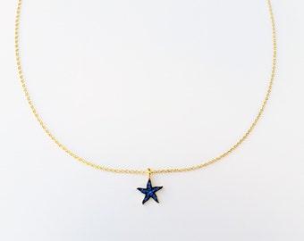 Gold 14K Star Choker Necklace,Blue Star, Sparkling Crystal Star, Blue Choker, Crystals, Gold Choker, Gold Filled over Sterling Silver,