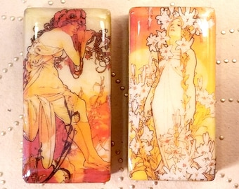 Set of 2 ALTERED ART DOMINOES Alphonse Mucha Images Summer Lily Art Nouveau Resin Coated Side Drilled For Crafts Jewelry Supplies Pendants