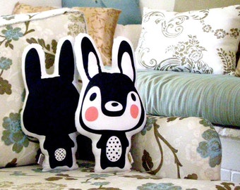 Black and white bunny, Stuffed Rabbit,  Soft Toy Bunny, Stuffed Animal, toys and games, room decor Modern Nursery