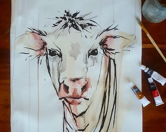 "Original Cow Painting 16"" x 20"" Unstretched Canvas, Acryic"