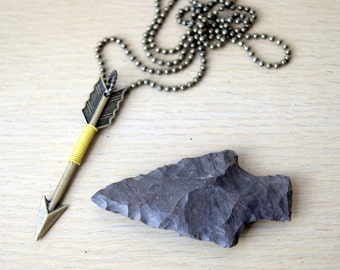 Wire Wrapped Arrow Necklace - yellow wire wrapped bronze arrow pendant